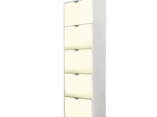 Botník 5 výklopů se zrcadlem bílý