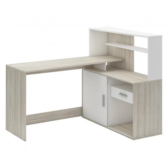 Psací stůl rohový BRICE dub/perleťově bílá