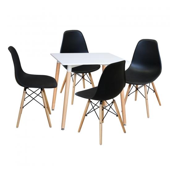 Jídelní stůl 80x80 UNO bílý + 4 židle UNO černé
