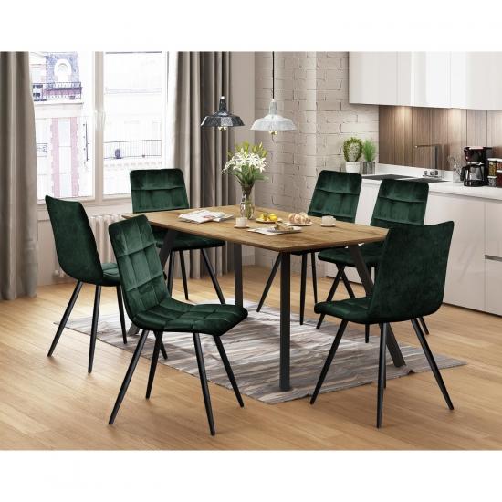Jídelní stůl BERGEN dub + 6 židlí BERGEN zelený samet