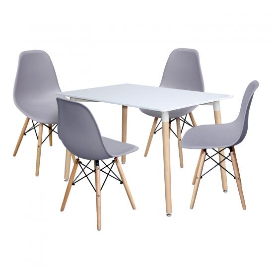 Jídelní stůl 120x80 UNO bílý + 4 židle UNO šedé