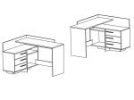 Psací stůl rohový THALES 484881 dub/bílá