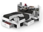 Multifunkční postel 140x190/200 CHICAGO perleťově bílá