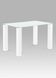 Jídelní stůl 120x75 cm, bílé sklo / vysoký lesk bílý