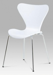 Jídelní židle bílý plast s imitací dřeva / chrom