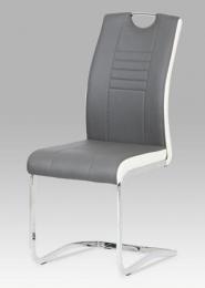 Jídelní židle chrom / koženka šedá s bílými boky
