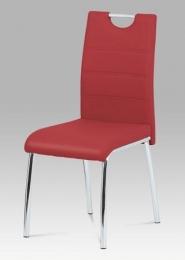 Jídelní židle, koženka bordó / chrom
