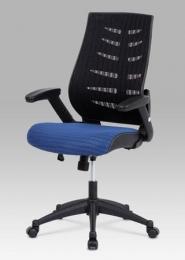 Kancelářská židle, látka mesh modrá + černá, houpací mechanismus