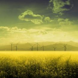 Obraz Panorama krajiny s větrnými elektrárnami