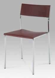 Židle plastová hnědá / chrom