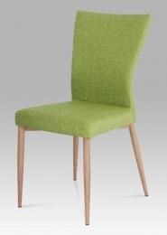 Jídelní židle látka zelená / nohy kov (dekor dub)