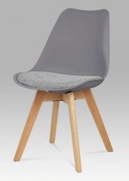 Jídelní židle šedý plast / šedá tkanina / natural