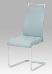 Jídelní židle, koženka sv. šedá / chrom