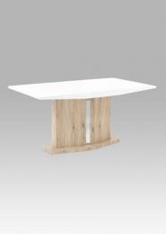 Jídelní stůl 160x90 cm, vysoký lesk bílý / san remo
