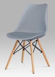 Jídelní židle šedý plast / šedá koženka / natural