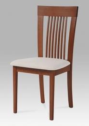 Jídelní židle, barva třešeň, potah krémový