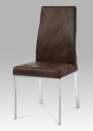 Jídelní židle, chrom / látka hnědá