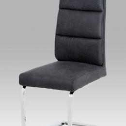 Jídelní židle, koženka šedá, chrom
