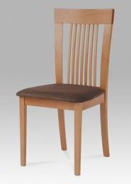 Jídelní židle, barva buk, potah hnědý
