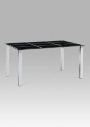Jídelní stůl 150x90 cm, černé sklo / chrom