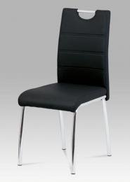 Jídelní židle, koženka černá / chrom