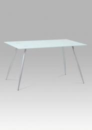 Jídelní stůl 140x80x75 cm mléčné sklo + nohy šedý lak