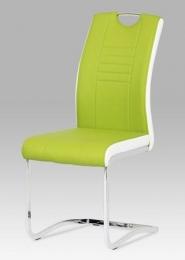 Jídelní židle chrom / koženka limetková s bílými boky