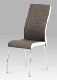 Jídelní židle lanýž látka + bílá koženka / chrom