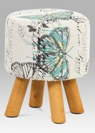 Taburet, 4 dřevěné nohy, látka s motýly