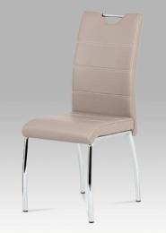 Jídelní židle koženka lanýž / chrom