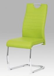 Jídelní židle koženka zelená / chrom