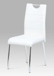 Jídelní židle, koženka bílá / chrom