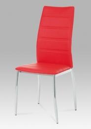 Jídelní židle chrom / koženka červená