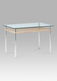 Jídelní stůl 120x75 cm, čiré sklo / sonoma / leštěný nerez