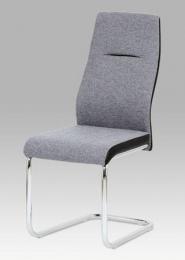 Jídelní židle šedá látka / černá koženka