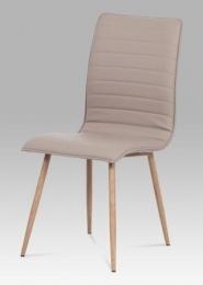 Jídelní židle lanýžová koženka / kov (dekor dub)