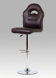Barová židle koženka hnědá / chrom