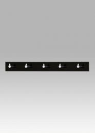Nástěnný věšák - 5 háčků, černý akrylát / chrom
