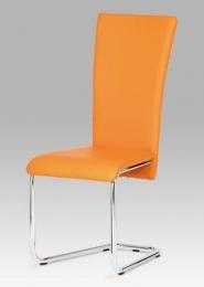 Jídelní židle chrom / oranžová koženka