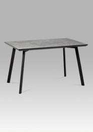Jídelní stůl 130x80 cm, imitace betonu + nohy černý mat
