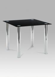 Jídelní stůl 90x90 cm, chrom / černé sklo 8 mm
