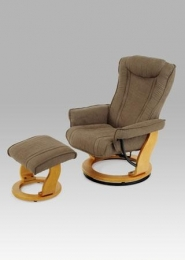 Relaxační křeslo s taburetem, olše / látka sv. hnědá