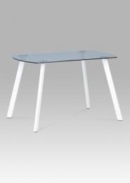Jídelní stůl 125x70 cm, šedé sklo / bílý kov