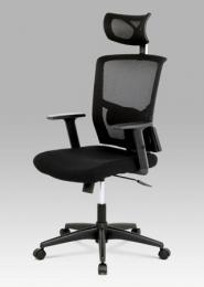 Kancelářská židle s podhlavníkem, látka mesh černá,  houpací mechanismus