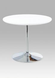 Jídelní stůl pr. 90 cm, vys. lesk bílý / chrom