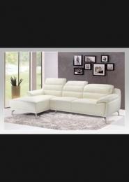 Rohová sedací souprava pravý roh, bílá kůže + koženka / chrom
