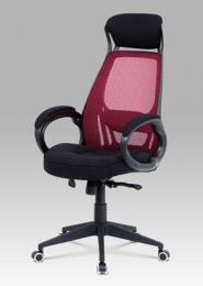 Kancelářská židle, červená mesh/černá látka, synchronní mechanismus