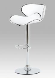 Barová židle bílá koženka / chrom