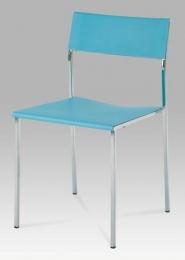 Židle plastová modrá / chrom