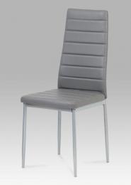 Jídelní židle, koženka tm. šedá / šedý lak
